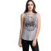 Sleeveless Wing of the Road Gray Cut Front T-shirt